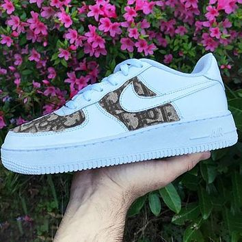 Onewel Nike Air Force 1 x Dior Print Contrast Shoes Women Men Trending Shoes White+Coffee