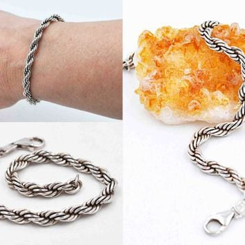 Vintage .999 Silver Rope Chain Bracelet, Pure Silver, Fine Silver, Twisted Rope Chain, Thick, Wide, 13.3 Grams, 3D, Nice! #c584