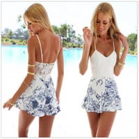 Vintage summer women Jumpsuit short dress v neck  blue and white dress  = 4769278980