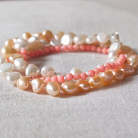 Wrap friendship bracelet necklace Baroque pearl Coral Delicate minimal Boho jewelry Beach wedding Bride Pretty feminine Peach Pink Handmade