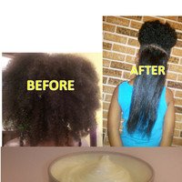 Mango Stretch Cream: Natural Hair Product for Fine Coily/Kinky Curl Pattern; Manage, Style, Stretch & Detangle; 16 oz, Citrus Scent