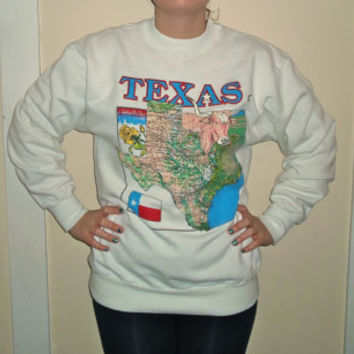90s Texas State Flag Crewneck Sweatshirt, Lone Star Sweater