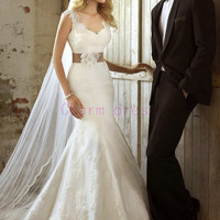 white romantic lace v-neck wedding dresses with train   mermaid elegant gowns for wedding prom with satin sash   cheap unique bridal dress