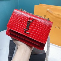YSL Women Shopping Bag Leather Metal Chain Crossbody Satchel Shoulder Bag Red