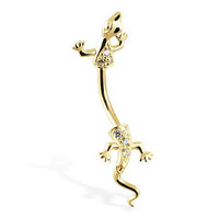 14K real gold lizard belly ring