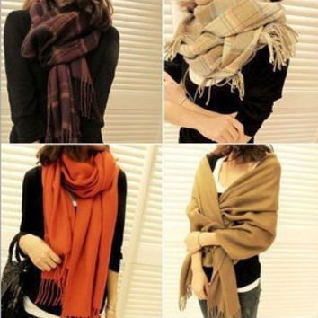 Cashmere Wool Shawl Dual Long Scarf - 9 Colors