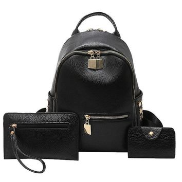 Naivety drop shipping Women Backpack Black Travel Tote Rivet PU Leather Shoulder 28S7710