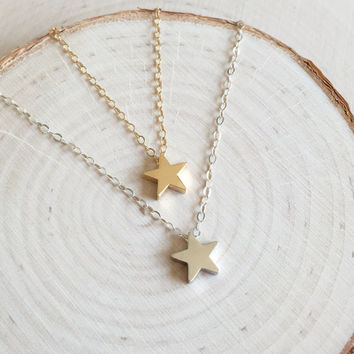 Little Star Charm Necklace in Gold or Silver with 14k Gold Filled or Sterling Silver Chain, Tiny Star Pendant, Gifts Under 20