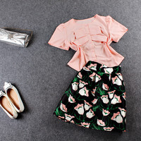 Pink Bow-Front Short Sleeve Button Blouse With Black Floral Print Pleated Skirt