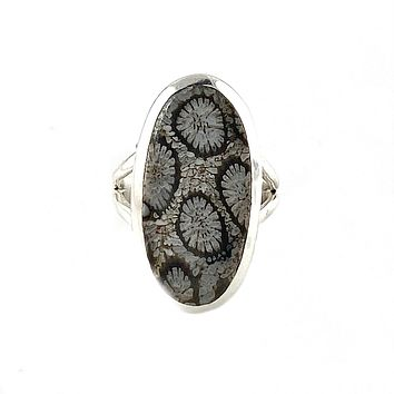 Fossilized Coral Sterling Silver Oval Ring