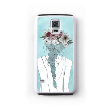Flower crown girl illustration on blue for Galaxy S5