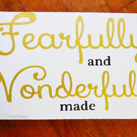 Painted Wood Sign - Christian Sign - Wonderfully Made - Home decor - Nursery Decor - Wooden sign