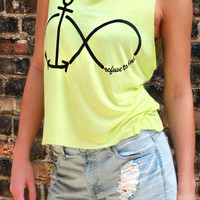 Defy the Odds Forever Muscle Tank - Neon Yellow
