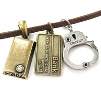 Bank Heist Themed Handcuff Gold Bar Bank Card Charm Necklace   DOTOLY