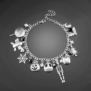 Movie Series Nightmare Before Christmas Jewelry Chain Bangle a bracelet in Women Accessories Charms Pendants Bracelets