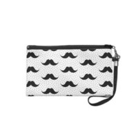 Mustaches Pattern White Wristlet Clutch from Zazzle.com