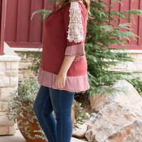 According To You Tunic With Striped Hem And Crochet Detail ~ Marsala ~ Sizes 12-18