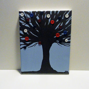Red White and Blue - Button Tree Painting - Patriotic Decor - SamIamArt