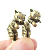 Fake Gauge Earrings: Adorable Kitty Cat Shaped Animal Themed Stud Earrings in Brass
