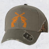 Country Girl® Crossed Guns Frayed Camo Cap - Country Fashion Clothing