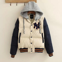 Beige And Navy Embroidered Button Baseball Jacket
