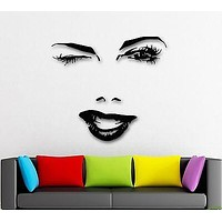 Wall Stickers Vinyl Decal Beautiful Woman Face Winks Sexy Lips Girl Unique Gift (ig1604)