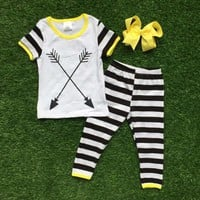 girls summer outfits baby girls boutique clothing girls arrow outfits stripe capri pants sets with matching bows