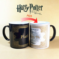 New Arrival Harry Potter Morphing Coffee Mugs Platform 9 and 3/4 Sensitive Heat Color Changing Cup