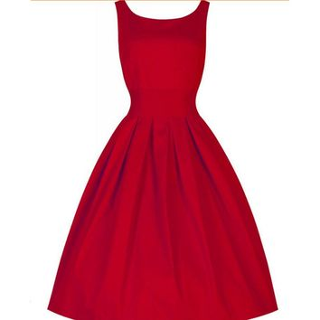 Womens Summer Elegant 1950s Dress Vintage Pinup Retro Rockabilly 50s 60s Belted Bow Party Swing Dress