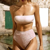 Shiny Bandeau Bikinis Biquinis High Waist Swimwear Women Bathing Suit Push Up Sexy Woman Swimsuit
