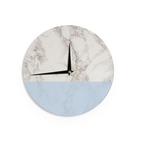 """Suzanne Carter """"Marble And Blue Block"""" Modern Gray Wall Clock"""