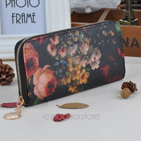 1 Piece Free Shipping New Hot Fashion Selling Women Purse Lady Oil Painting Long Clutch PU Leather Wallet
