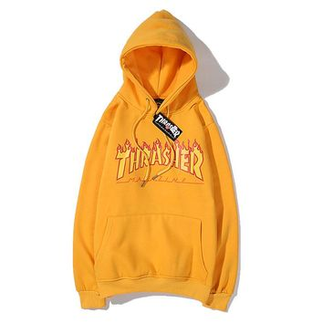 THRASHER fashion hot seller couple flame letters casual hoodie #2