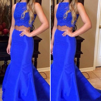 Beautiful Mermaid Two Piece Prom Dresses 2016 Women Satin Lace Royal Blue Prom Dress Long Evening Party Dresses Gowns RT59