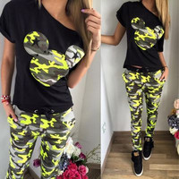 Mickey Mouse Design T-Shirt and Sexy Army Pants a10175