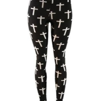 Black White Cross Print Stretch Tight Fit Leggings (LARGE)