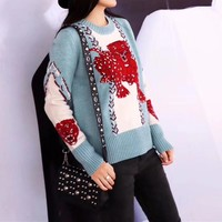 """Gucci"" Women Fashion Multicolor Red Leopard Loose Long Sleeve Knit Sweater Tops"