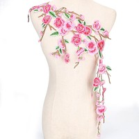 New 1 pc Embroidery Beautiful Pink Flowers Lace Neckline Collar fabric, DIY Collar Lace fabrics for Sewing Supplies Crafts