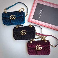 G GG popular women's one-shoulder bag is purple with fashionable corrugated velvet shopping bags Sapphire Bag
