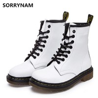 Sorrynam 2017 Spring/Winter Fashion Boots Women Shoes for Lady Pu Plush Dr Martin Boots Breathable Black Wine Soft Short Boots