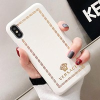Versace Fashion New Pattern Human Head Print Leather Case Couple iPhone Protective Cover Phone Case White
