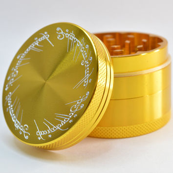 GrindTex - The Lord of The Rings - Engraved Metal Herb Grinder - 4 piece Herb grinder - Free Crystal Brush