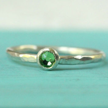 Peridot ring sterling silver stacking ring with Swarovski green faceted birthstone crystal mother's ring August birthday gift stack ring