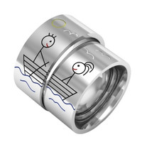 Love on boat matching couple ring silver band ring