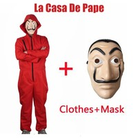 La casa de papel/House of Paper/Money Heist Dali Face Mask+Jumpsuits Fancy Ball Party Halloween Cosplay Costume Props Outfits