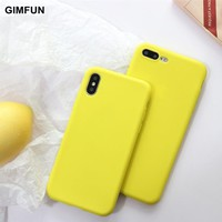 Gimfun Yellow Candy Tpu Phone Case for Iphone 7 6 case purple Solid Scrub Silicon Case for IPhone 6 6s 8 plus X Back Cover coque