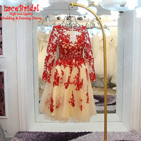 Sexy See Through Red and Champagne Ball Gown Beaded Long Sleeve Lace Party Cocktail Dresses 2017 Prom Gown robe de cocktail XC6