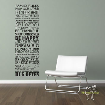 Family Rules Wall Decal Home Living Room by LittleMooseDecals