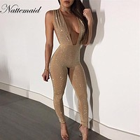 NATTEMAID Sexy Deep V Neck rivet Overalls women Sleeveless Long Bodycon Bodysuit Sexy Club Jumpsuit Autumn Rivet Rompers 2018