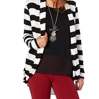 Striped Slouch Pocket Open Front Cardi